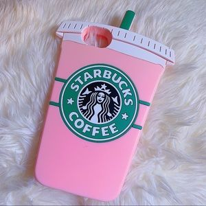 3D Soft Silicone Rubber Pink Starbucks Coffee Case